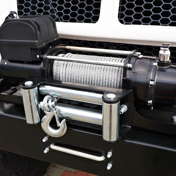 Winch on a jeep